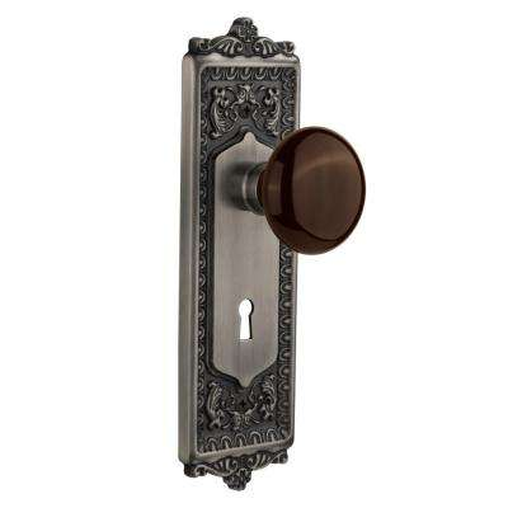 Egg & Dart Plate with Keyhole 2-3/8 in. Backset Antique Pewter Passage Brown Porcelain Door Knob