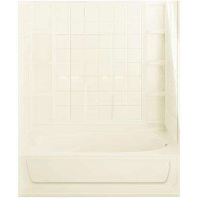 Ensemble 42 in. x 60 in. x 75-1/2 in. Bath and Shower Kit Right Drain in Biscuit with Above-Floor Drain