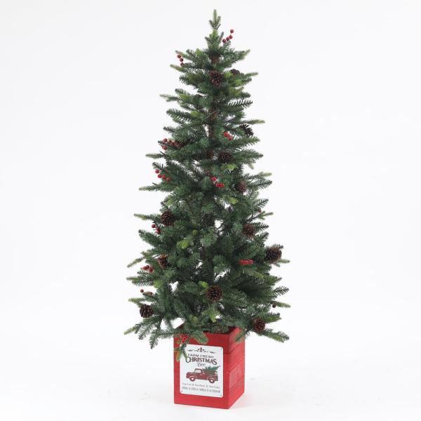 5 ft. Pre-Lit Clear LED Porch Artificial Christmas Tree with Pinecones and Red Berries and Red Wood Base