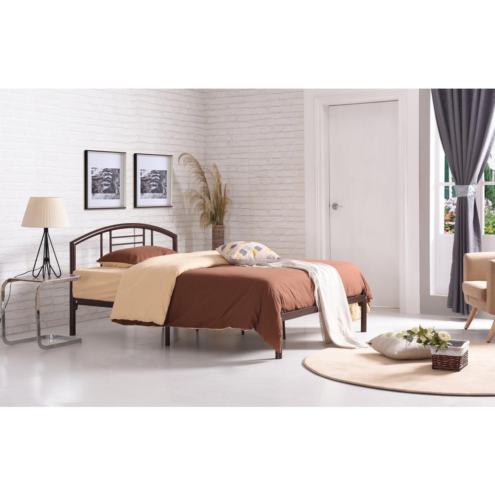Hodedah Low Line Twin-size Metal Bed with Headboard in Bronze