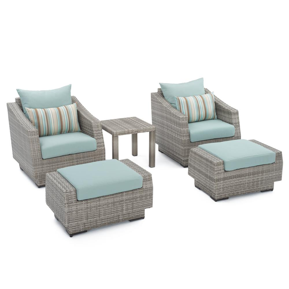 RST Brands Cannes 5-Piece Wicker Patio Chat Set with Bliss Blue Cushions