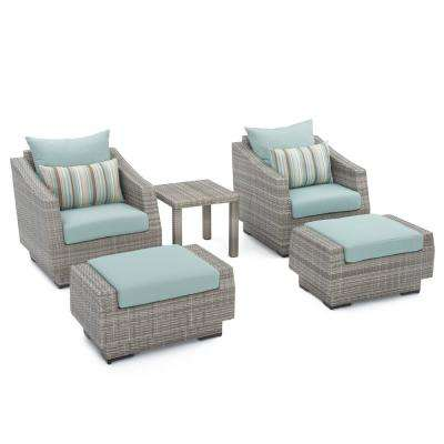 Cannes 5-Piece Wicker Patio Chat Set with Bliss Blue Cushions