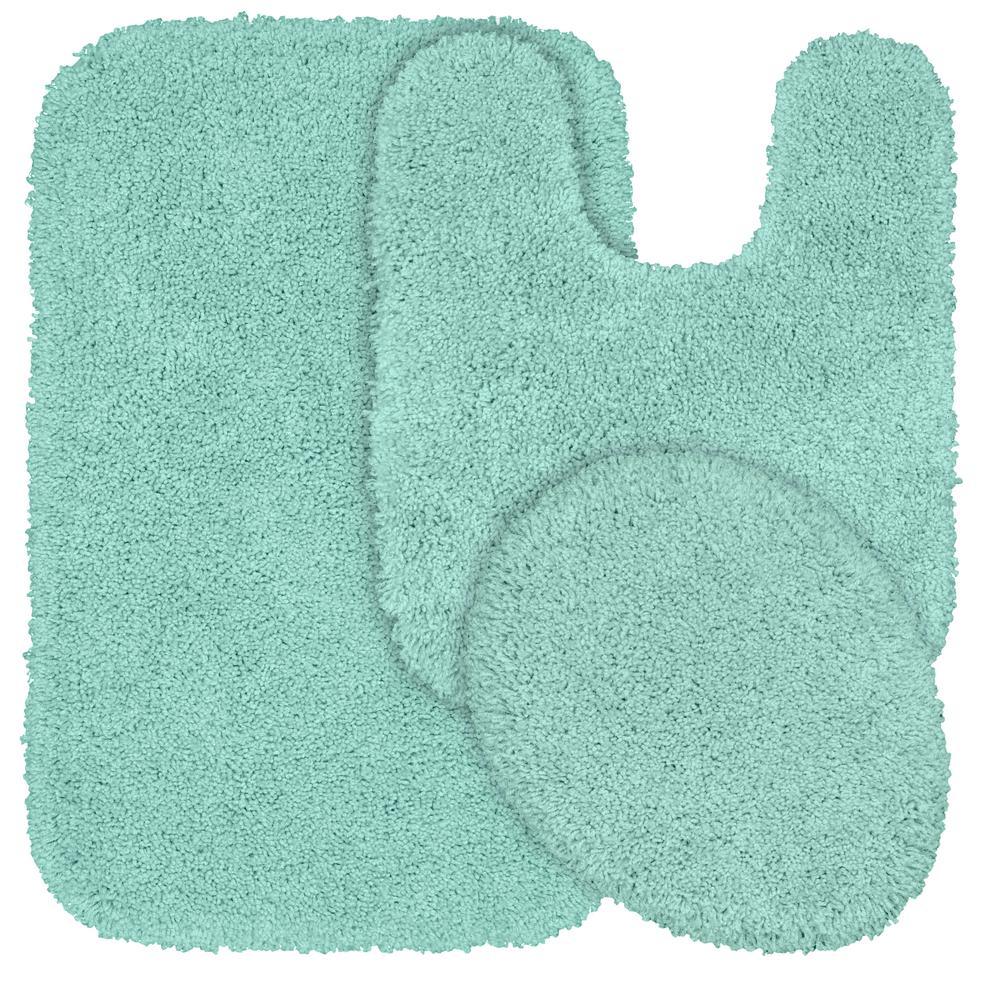 Serendipity 3 Piece Washable Bathroom Rug Set in Sea Foam