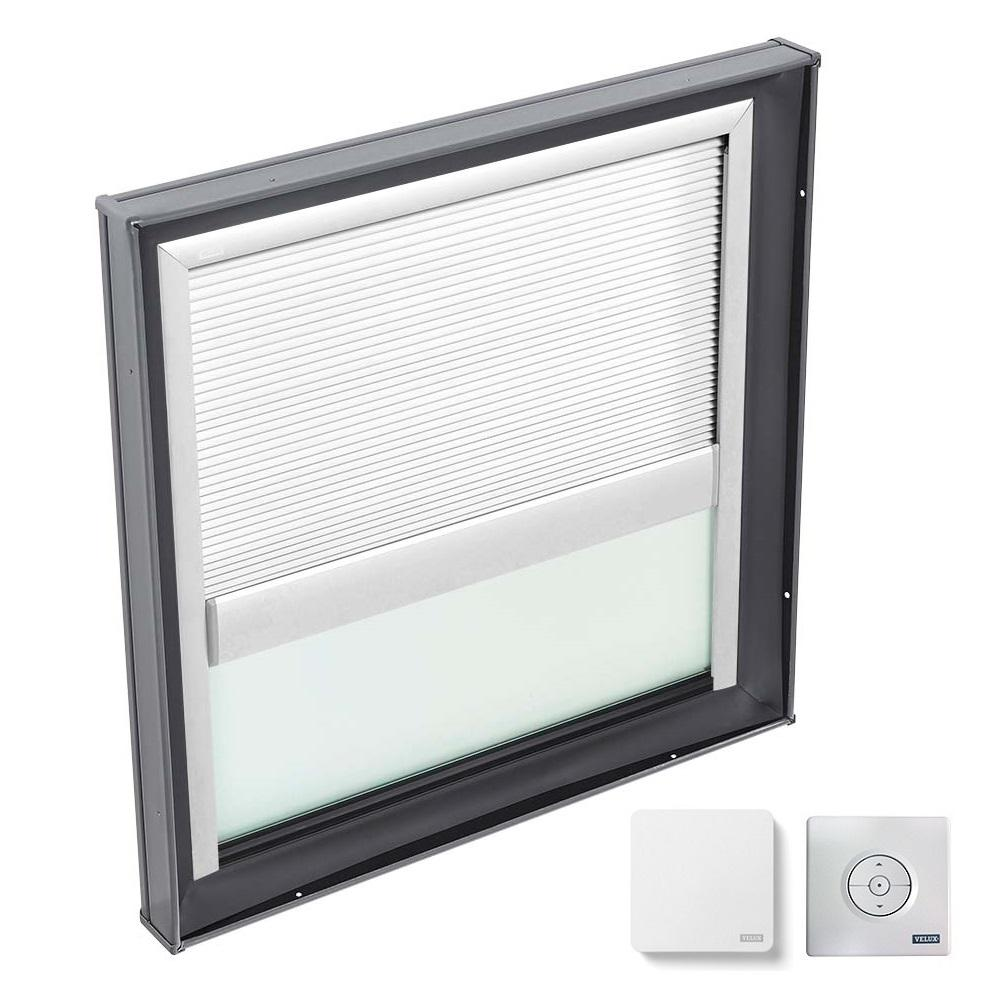 VELUX 46-1/2 in. x 46-1/2 in. Fixed Curb Mount Skylight with Tempered Low-E3 Glass & White Solar Powered Light Filtering Blind