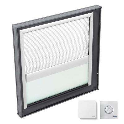 46-1/2 in. x 46-1/2 in. Fixed Curb Mount Skylight with Tempered Low-E3 Glass & White Solar Powered Light Filtering Blind