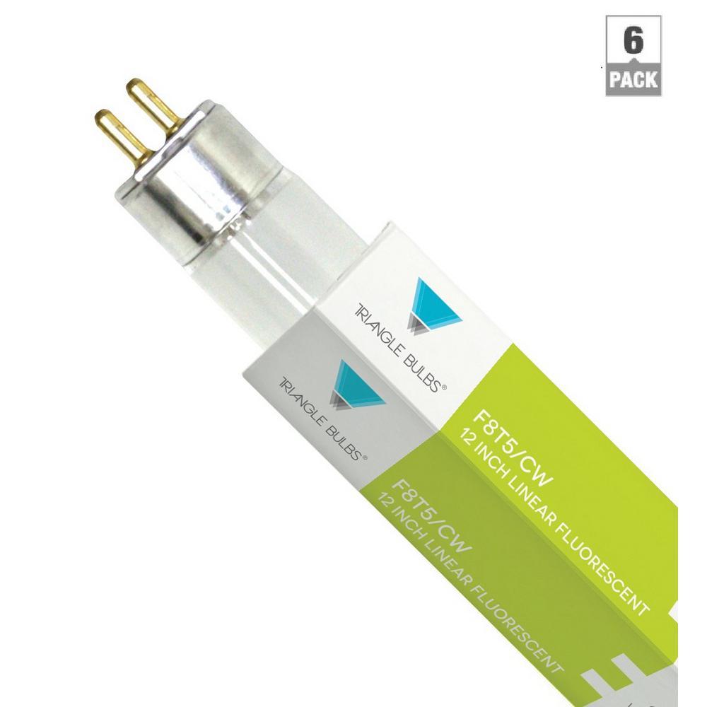 8-Watt 12 in. G5 Mini Bi-Pin Base Linear T5 Fluorescent Light Bulb Cool White (6-Pack)