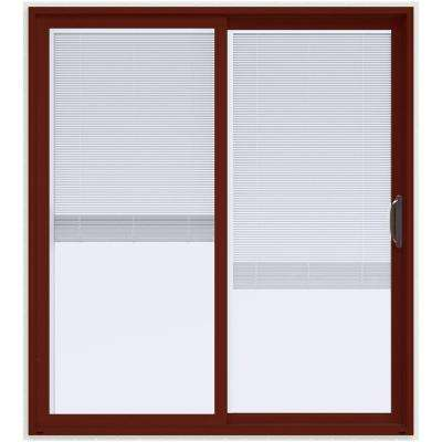 72 in. x 80 in. V-4500 Contemporary Red Paint Vinyl Right-Hand Full Lite Sliding Patio Door w/White Interior & Blinds