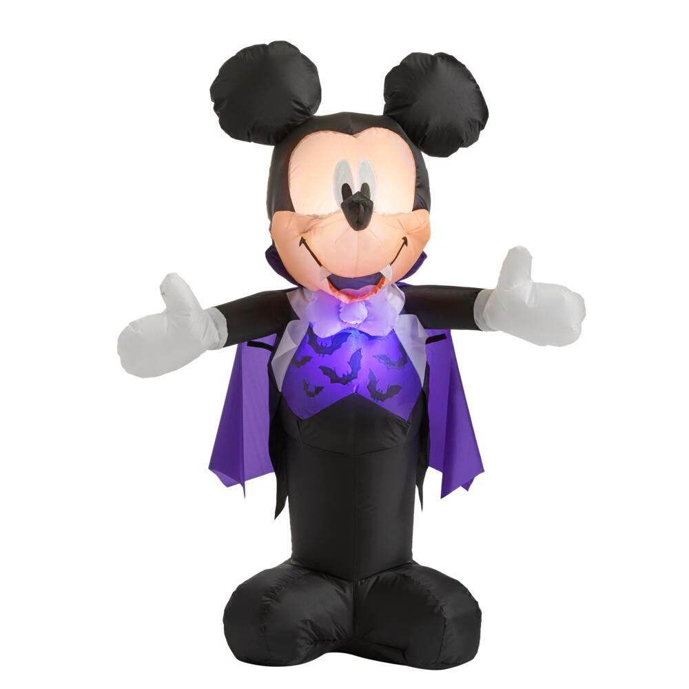 Disney 3 5 Ft Mickey Mouse In Vampire Costume Halloween Inflatable 224994 The Home Depot
