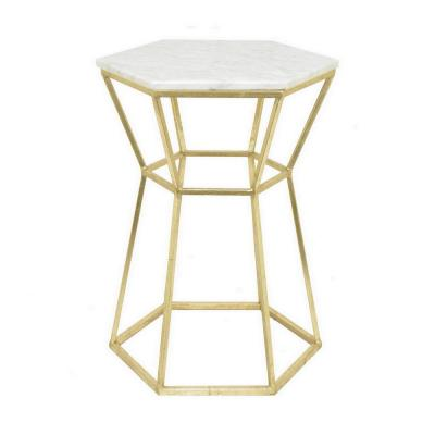 22.5 in. Gold Decorative Gold Metal Table with Marble Top