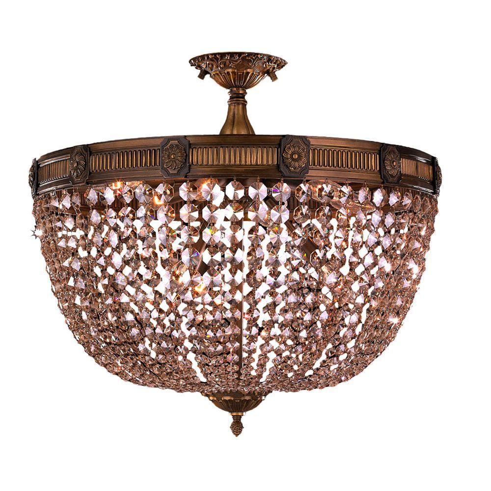 Winchester 9-Light Antique Bronze and Golden Teak Crystal Semi-Flush Mount Light