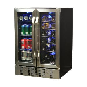 Click here to buy NewAir 23.5 inch 18-Bottle and 60 Can Dual Zone Built-In Compressor Wine and Beverage Cooler by NewAir.