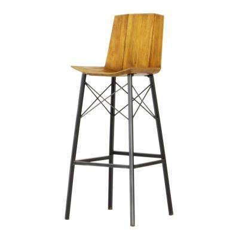 Sumatra 32 in. Industrial Metal Solid Natural Teak Wood Bar Chair