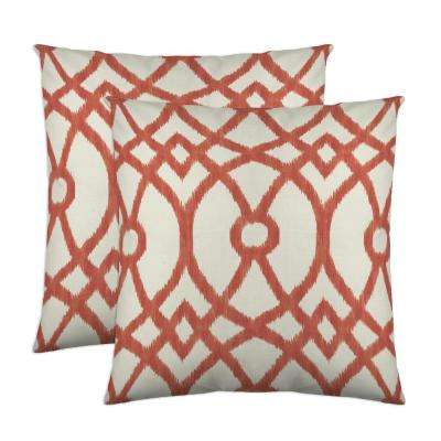 Piper 18 in. x 18 in. Coral Decorative Pillow (2-Pack)