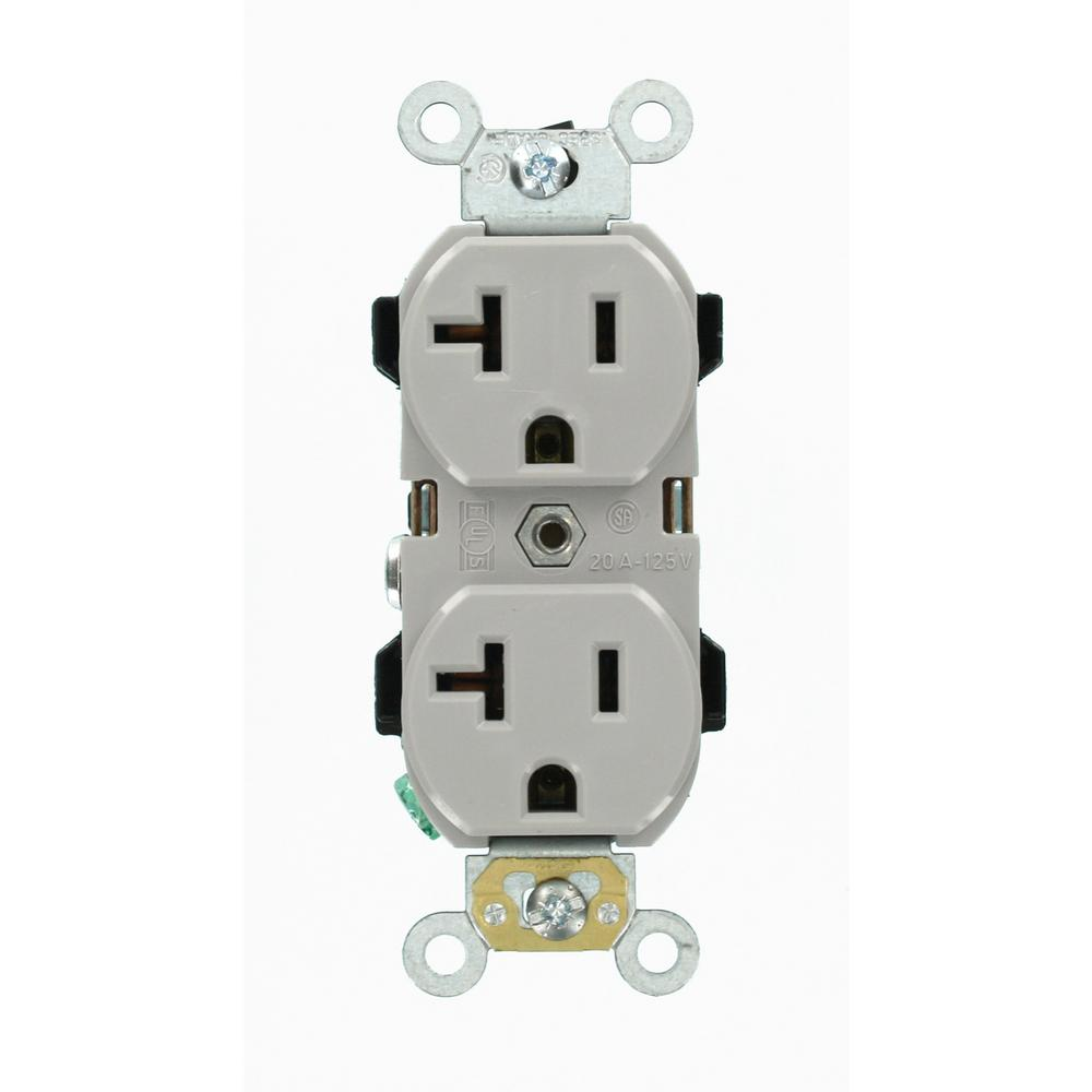 20 Amp Industrial Grade Duplex Outlet, Gray
