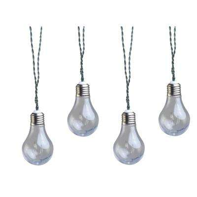10-Light 15 ft. Solar Powered Integrated LED Clear Vintage Bulb String Lights