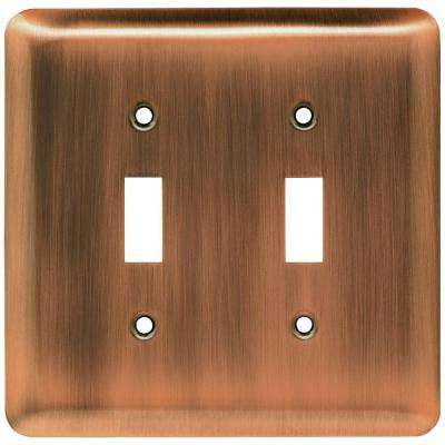 St&ed Round Decorative Double Switch Plate Antique Copper & Copper - Switch Plates - Wall Plates - The Home Depot