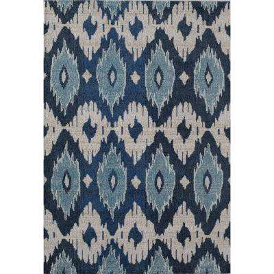 Barbara Belle Sapphire Blue 4  ft. 0 in. x 5  ft. 7 in. Rectangular Area Rug