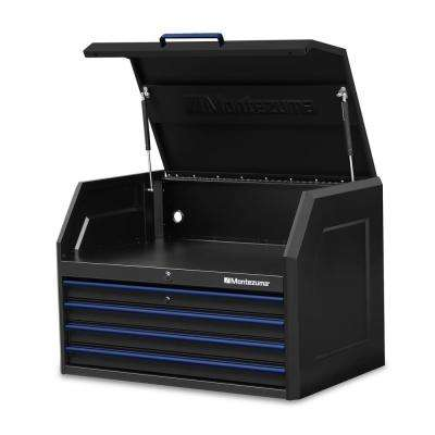 36 in. x 24 in. 4-Drawer Tool Top Chest with Power and USB Outlets in Black and Blue