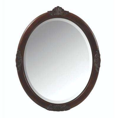 Winslow 30 in. W x 37 in. H Single Framed Oval Mirror in Antique Cherry