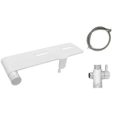 Non-electric Bidet Seat Thin Attachment in White with Dual Cleaning Nozzles- Stainless Steel Hose and T Adapter included