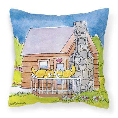 14 in. x 14 in. Multi-Color Lumbar Outdoor Throw Pillow Cat Love at the Log Cabin Decorative Canvas Fabric Pillow