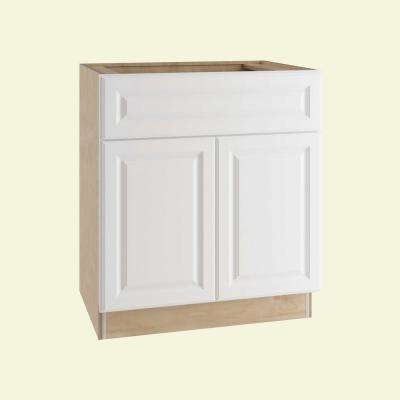 Hallmark Assembled 30x34.5x24 in. Base Kitchen Cabinet with Double Doors and 1 Rollout Tray in Arctic White