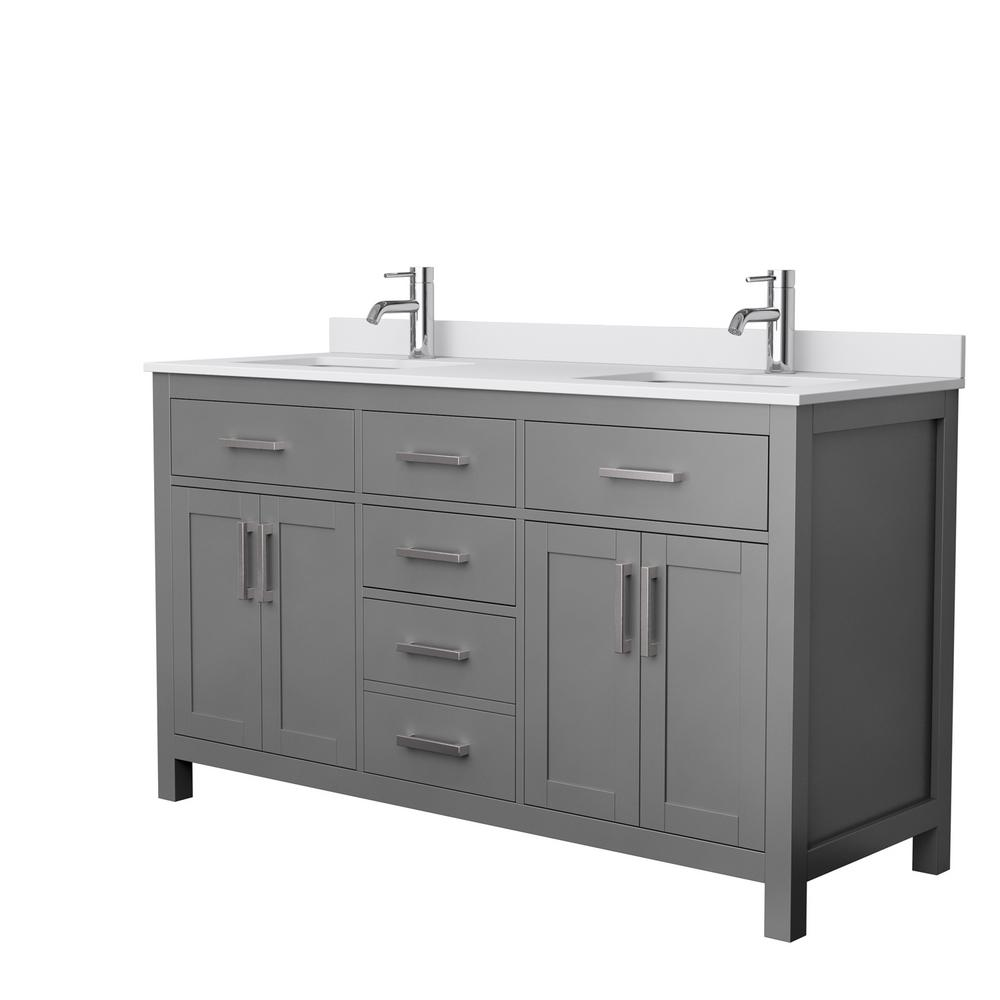 Wyndham Collection Beckett 60 in. W x 22 in. D Double Bath Vanity in Dark Gray with Cultured Marble Vanity Top in White with White Basins