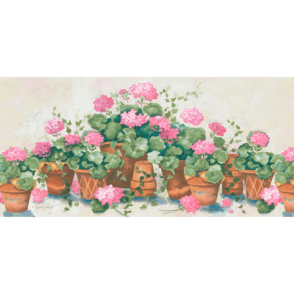 Pink terra cotta potted flower wallpaper border 499 06741 the home pink terra cotta potted flower wallpaper border mightylinksfo