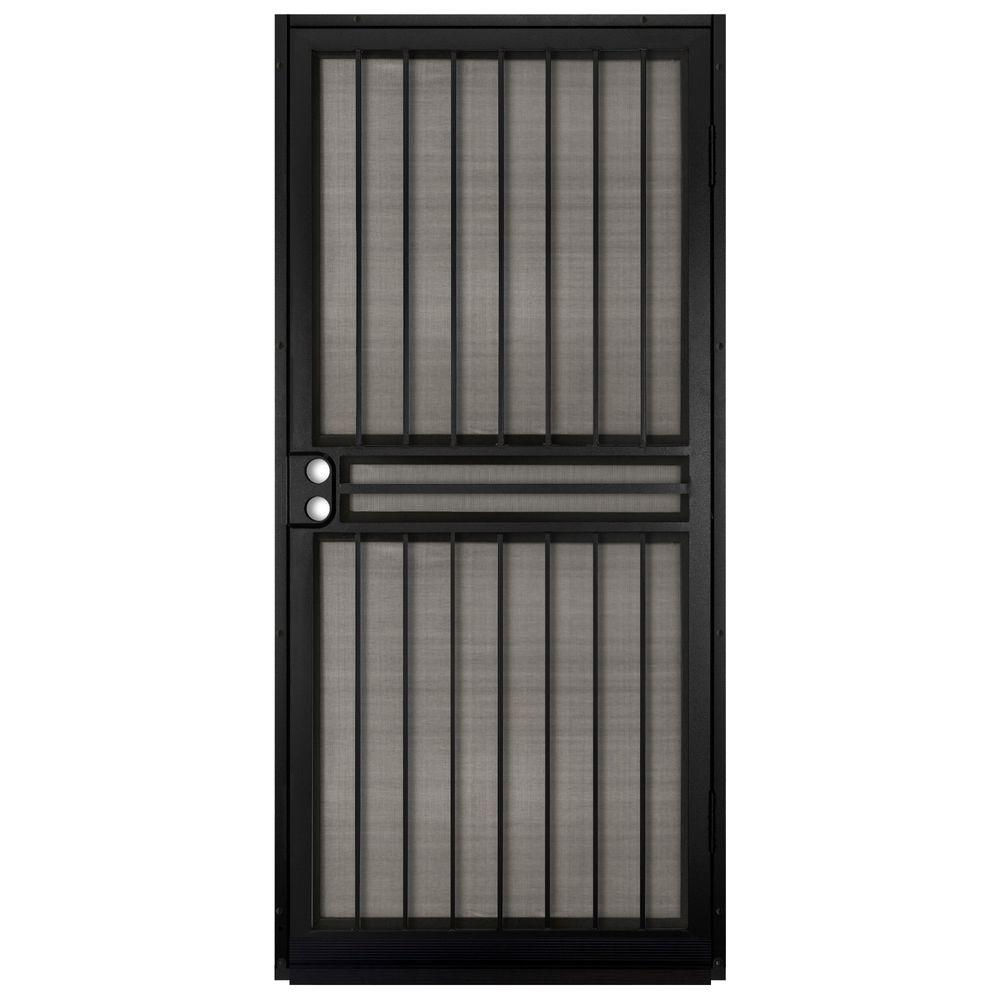 Unique Home Designs 36 in  x 80 in  Guardian Black Surface Mount Outswing  Steel Security Door with Insect Screen