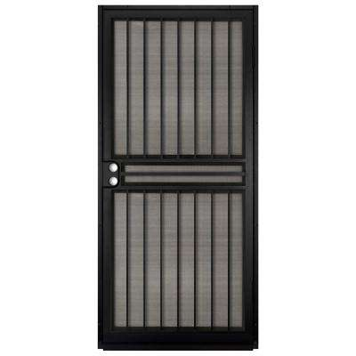 36 in. x 80 in. Guardian Black Surface Mount Outswing Steel Security Door with Insect Screen
