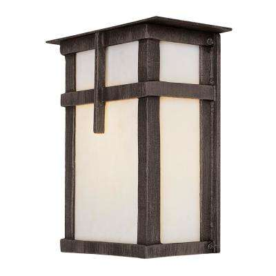 1-Light Rust Outdoor Wall Mount Lantern with Frosted Glass