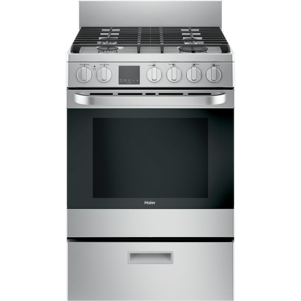 Oven Capacity Convection Oven in Stainless Steel ft Haier QGAS740RMSS 24 Gas Range with 4 Sealed Burners 2.9 cu