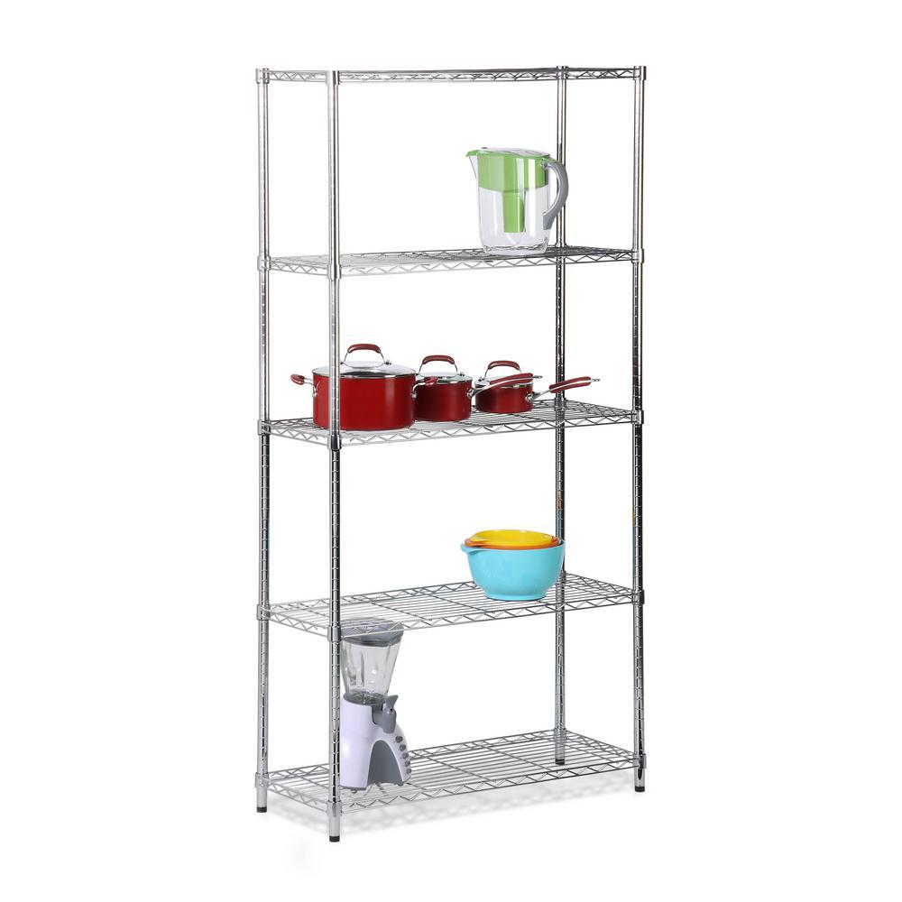 72 in. H x 36 in. W x 14 in. D 5-Shelves Steel Shelving Unit in Chrome