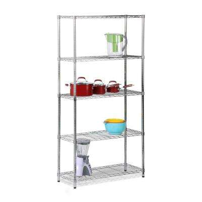 5-Shelf 72 in. H x 36 in. W x 14 in. D Steel Shelving Unit in Chrome