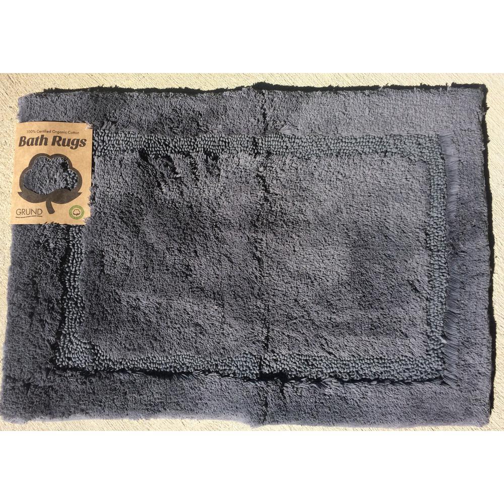 Asheville 24 inch x 60 inch 100% Organic Cotton Bath Rug in Slate Gray by
