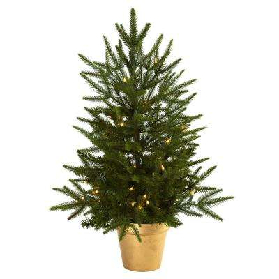 2.5 ft. Artificial Christmas Tree with Golden Planter and Clear Lights