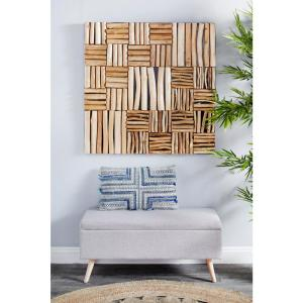 Large Square Handmade Reclaimed Teak Wood Wall Art