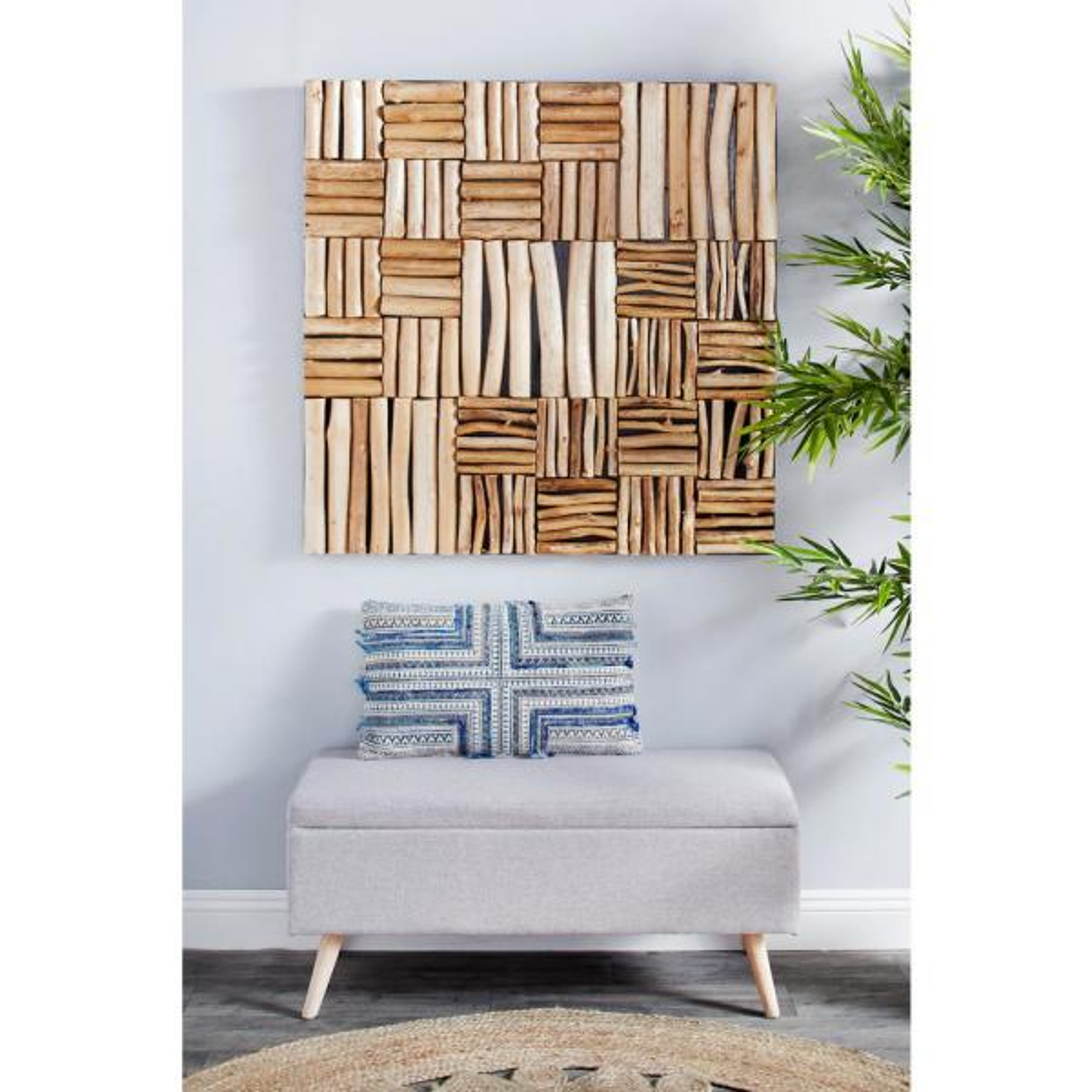 Litton Lane Large Square Handmade Reclaimed Teak Wood Wall Art 57272 The Home Depot