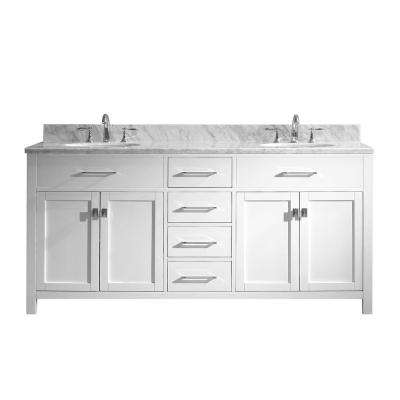 Caroline 72 in. W x 22 in. D Double Vanity in White with Marble Vanity Top in White with White Basin