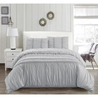 Emilia Kensie Glacier Grey 3-Piece Full/Queen Duvet Set