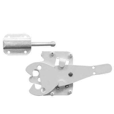 Heavy-Duty 8 in. x 12 in. Stainless Steel White Gate Latch