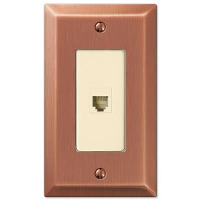 Metallic 1 Gang Phone Steel Wall Plate - Antique Copper