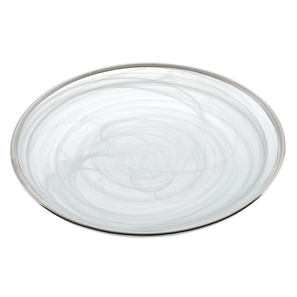 6.75 in. 4-Piece White Alabaster Glass with Silver Trim Plates Set