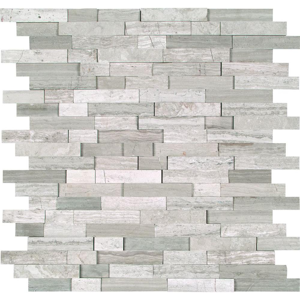 MSI White Quarry Splitface 12 in. x 12 in. x 10 mm Marble Mesh ...