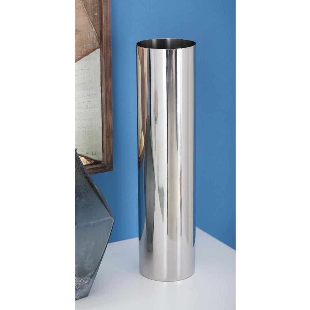 Stainless Steel Cylindrical Decorative Vase In Silver