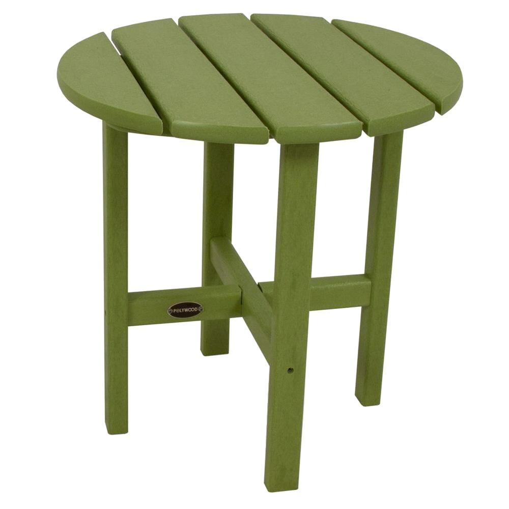 POLYWOOD 18 in. Lime Round Patio Side Table