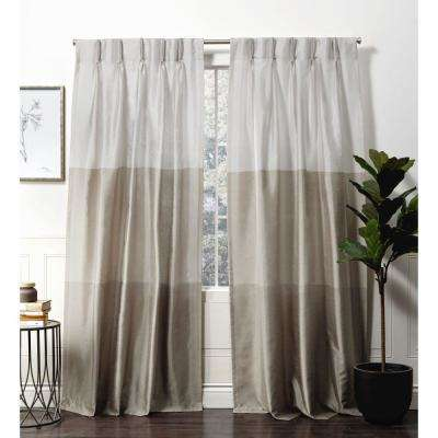 Chateau Taupe  Room Darkening Triple Pinch Pleat Top Curtain Panel -  27 in. W x 96 in. L  (2-Panel)