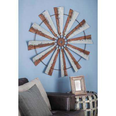 39 in. Rustic Wheel-Shaped Metal Wall Art