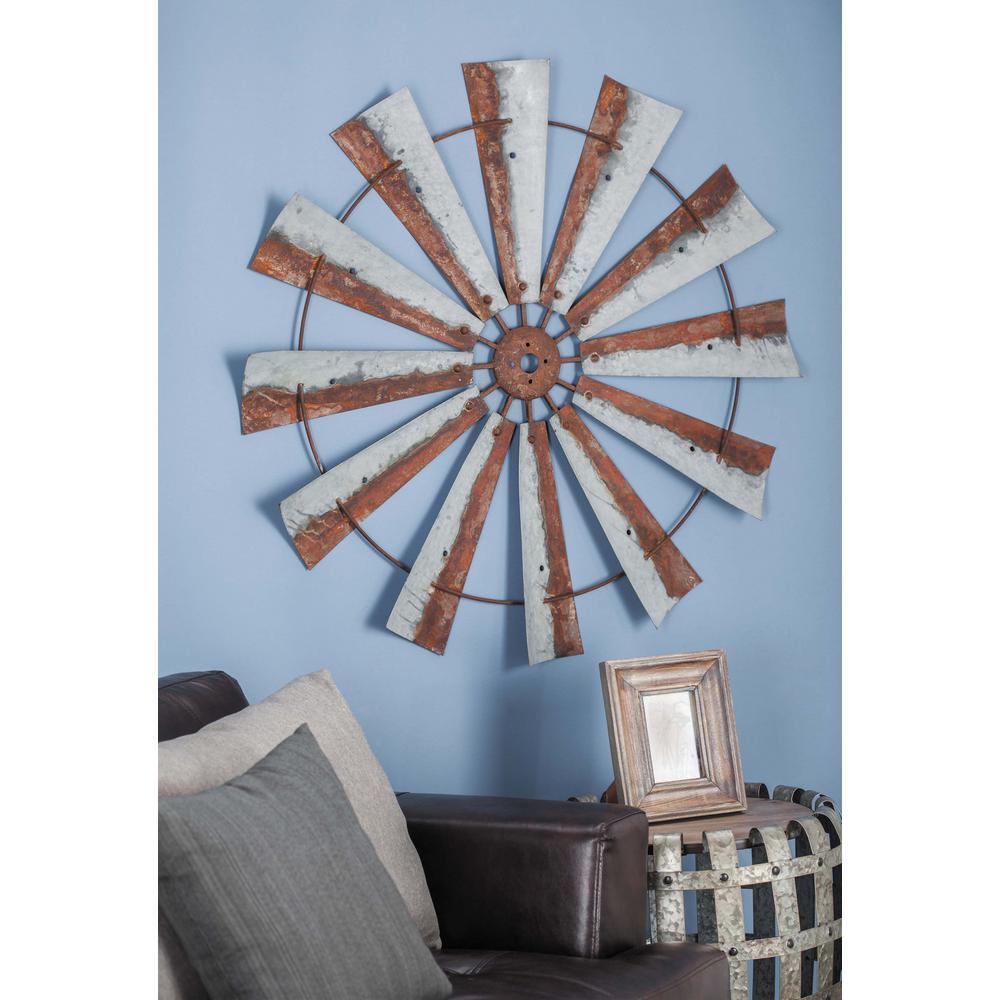 39 in  Rustic Wheel-Shaped Metal Wall Art