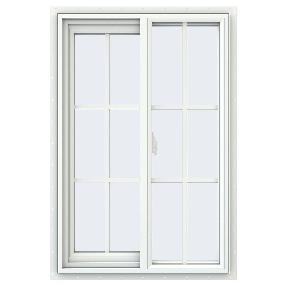 JELD-WEN 23.5 in. x 35.5 in. V-2500 Series Left-Hand Sliding Vinyl Window with Grids - White